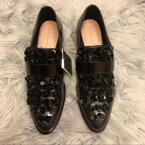 NWT ZARA Sequin flower loafers